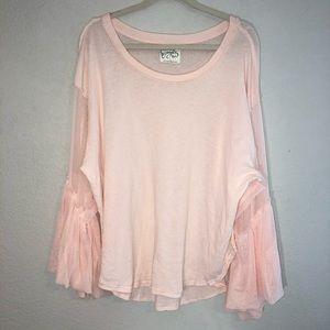 free people baby pink mesh sleeve long sleeve top